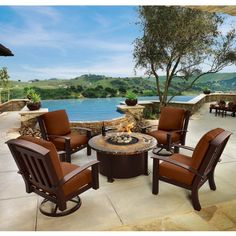 OW Lee Tamarack Fire Pit Patio Set. Wrought Aluminum frame w/ custom frame and cushion options.