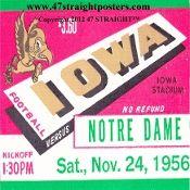 1956 Notre Dame vs. Iowa Football Ticket Coasters™   Vintage football art. http://www.vintagefootballart.com/ #art #gifts