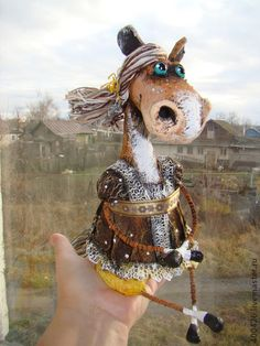 лошадка Клавочка - коричневый,жёлтый,горошек,год лошади,девочка,лошадка