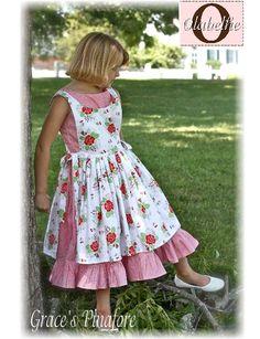 Olabelhe - Grace's Pinafore - PAPER PATTERN-olabelhe, dawn hansen, grace's pinafore, girls pinafore, pinafore, holiday, apron dress, sewing, girls, dress, pattern, sewing pattern, designer sewing pattern