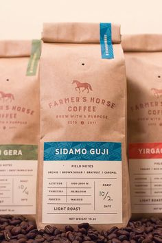 Christopher Caldwell - Farmer's Horse Coffee - World Brand Design Food Packaging Design, Coffee Packaging, Coffee Branding, Coffee Labels, Kraft Packaging, Coffee Typography, Coffee Logo, Coffee Coffee, Coffee Icon