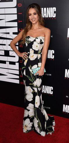 "Jessica Alba in Dolce & Gabbana attends the ""Mechanic: Resurrection"" L.A…"