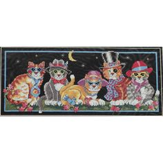 COOL CATS Cross Stitch Kit Judy Vilcheck Fashionable Felines by NeedleLittleTherapy on Etsy Butterfly Pillow, Thread Holder, Crewel Embroidery Kits, Vintage Cross Stitches, Counted Cross Stitch Kits, Niece And Nephew, Cool Cats, Blue Bird, Cool Stuff