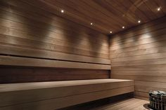 Sauna with overhead led lighting SaunaLED from OverLED. Blinds, New Homes, Stairs, Curtains, Shower, Bathroom, House, Home Decor, Spa
