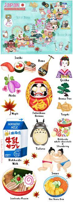 Japan map illustration illustrated by illustrator Liv Wan More