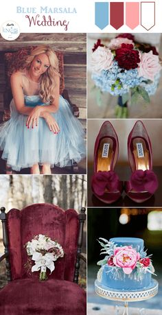 Blue Marsala Wedding Inspiration Board