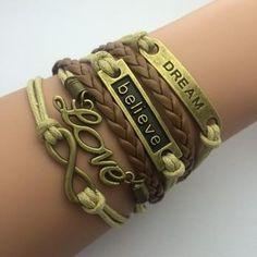 Cerkos.com: Fashion jewelry leather Double infinite multilayer bracelet