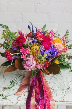 Scarlett & Grace - brightly colored bridal bouquet
