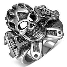 Crossed Wrench Tool Skull Ring
