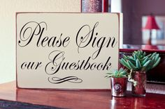 Distressed chic Shabby/'Please Sign Our Guest Book/' personalised wedding sign