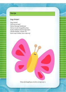 Versje: Dag vlinder! Butterfly, Eric Carle, Math, Kids, Crafts, Google, Yoga For Kids, Lilac, Insects