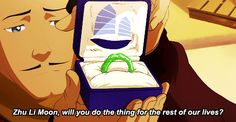 Varrick proposing. This was so cute!!!!<<<I'm not going to lie, I screamed
