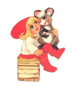 """DANISH Tre nisser fra 70´erne. Denne gang med to gennemgående figurer, nemlig en lille nissepige og et lille dyr af ubestemmelig race. Eller rettere, det er jo en rotte! Arket er fra Stenders Forlag og bærer titlen """"Stenders Hø nisser"""". ENGLISH Three goblins from 70s. This time with two recurring characters, namely a little Pixie girl and a small animal of indeterminate race {species}. It is a rat! {MOUSE} The sheet is from Stenders publishers and bears the title """"Stenders Hay gnomes""""."""