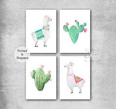 Llama Cactus Wall Art, Cactus Decor, Cactus Print, Nursery Prints, Nursery Wall Art, Nursery Decor, Room Decor, Quote Prints, Wall Art Prints