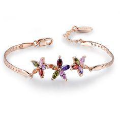 Flower 18K Real Rose Gold Plated Fashion Environmental Alloy Czech Rhinestone Link Bracelet from Pandahall.com