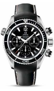 Omega Seamaster Planet Ocean 600 M Co-Axial Chronograph 37.5 mm SS Leather Strap