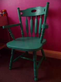 Upcycled Farmhouse Wooden Carver Coloured Chair in Annie Sloan Florence Annie Sloan Florence, Decor, Chair, Wooden, Rocking Chair, Lounge Design, Colorful Chairs, Shabby, Home Decor