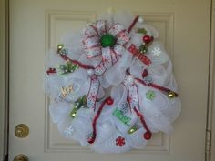Handmade Christmas Wreath White Deco Mesh w/ Red,Green,Gold  #Unbranded
