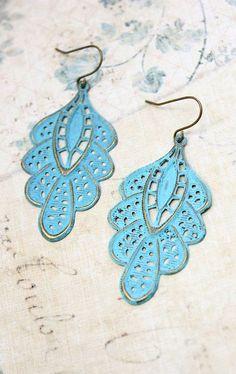 Aqua Blue Filigree Earrings Patina Brass Lace