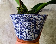 Blue and WhiteTerra Cotta Planter with Italian Design - Ready to Send