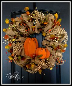 Fall Wreaths / Autumn Wood Pumpkin Burlap Wreath by JWDecor