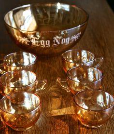 Vintage Carnival Glass Eggnog Punch Bowl Set for 6.