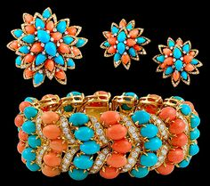 Diamond Coral & Turquoise Suite - Yafa Jewelry