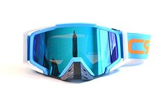 CRG Motocross ATV Dirt Bike Off Road Racing Goggles Adult T815-105 Series (Blue and White) - Dirt Bikes & Helmets
