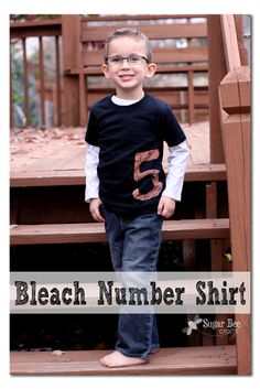 Bleach Number Shirt ~ Sugar Bee Crafts- great for birthdays or DIY team jerseys! Just don't forget the Bleach Stop to neutralize the bleach.