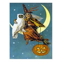 #Spring #AdoreWe #Zazzle - #Zazzle Vintage Halloween Witch Postcard - AdoreWe.com