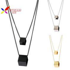 2015 new fashion designer punk gold silver black copper square cubic geo false collar pendant necklace for women para el collar