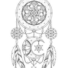 Dream Catcher Coloring Pages For Adults Dreamcatcher Coloring Pages, Adult Coloring Book Printable, Coloring Dream Catcher Coloring Pages, Mandala Coloring Pages, Coloring Pages To Print, Free Coloring Pages, Coloring Books, Coloring Sheets, Mandalas Painting, Mandalas Drawing, Dream Catcher Art