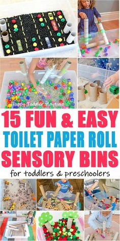 65 Easy Toilet Paper Roll Activities - HAPPY TODDLER PLAYTIME Here are 65 fun & easy toilet paper roll activities for toddlers and preschoolers! From sensory bins to crafts to learning activities and more! Quiet Toddler Activities, Sensory Activities, Toddler Preschool, Toddler Crafts, Preschool Activities, Preschool Centers, Toddler Learning, Toddler Toilet, Indoor Activities