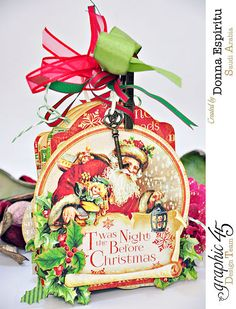 We are loving this 'Twas the Night Before Christmas tag mini album by Donna! What perfect embellishment and details. Wonderful for all those holiday memories! #graphic45