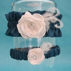 Garter Dark Teal Ivory Feather Rose Wedding Garter by HARTfeltart, $39.99