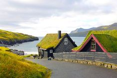 Grass Roofed Homes, Leynar, Faroe, Islands  photo via besttravelphotos