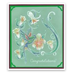 GROOVI System Card Sample 18 Parchment Design, Trumpet Lily, Parchment Cards, Handmade Stamps, Craft Patterns, Paper Cards, Plate Sets, Hummingbird, Crafts To Make
