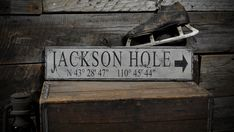 Custom Jackson Hole Lat & Long Sign  Rustic by TheLiztonSignShop, $39.00