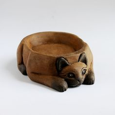 wooden cat feeding bowl