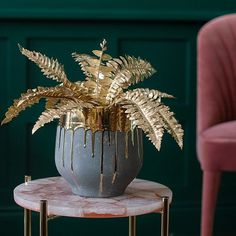 Wow - a fabulous faux gold fern bush to brighten up your interior styling. Perfect for a hit of glam, and a quick way to add some pizzazz. Quirky Homeware, Home Interior Accessories, Accessories Online, Interior Styling, Tropical Wedding Reception, Front Room Decor, Tall Glass Vases, Fern Frond, Unusual Furniture