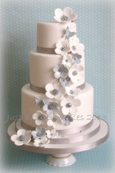 Wedding Cakes by Just Because CaKes - Daisy - Beautiful 3 tier wedding cake in silver and white by Just Because CaKes