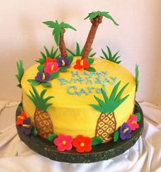 Luau cake idea...@Amy Fouche-Murphy thought you would like this.