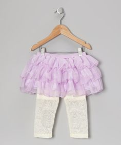 Take a look at this Purple Tulle Ruffle Skirted Leggings - Infant, Toddler & Girls by Just Fab Girls on #zulily today!