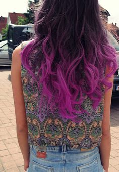 colored hair tips. I might just show up with hair like this soon. colored hair tips. I might just show up with hair like this soon. Pink Ombre Hair, Hair Color Pink, Purple Ombre, Purple Tips, Violet Ombre, Black Blue Ombre Hair, Fuschia Hair, Neon Purple, Bright Purple