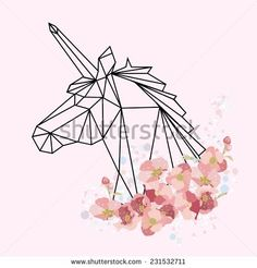 Vector color illustration with geometric unicorn head and flowers