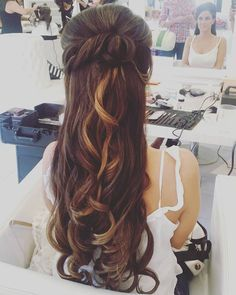 half up long wedding hairstyle