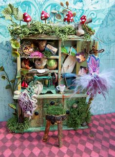 Dollhouse Miniature Fairy Sewing Notions Cabinet Layaway Available. $65.00, via Etsy.