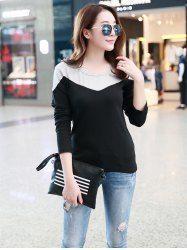 Casual Contrast Color T-Shirt in Black | Sammydress.com Mobile