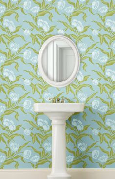 Stenciled wallpaper in sweet color with an allover flower wall stencil.