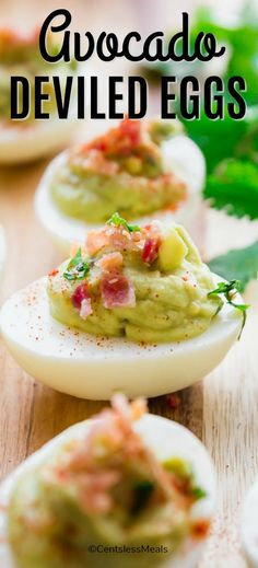 Avocado deviled eggs make the perfect side or appetizer for any occasion. Rich and creamy and topped with crispy bacon and fresh cilantro, you will love every delicious bite. Avacado Appetizers, Avocado Egg Recipes, Easy Appetizer Recipes, Yummy Appetizers, Healthy Deviled Eggs, Guacamole Deviled Eggs, Deviled Eggs Recipe, Clean Eating Snacks, Healthy Snacks